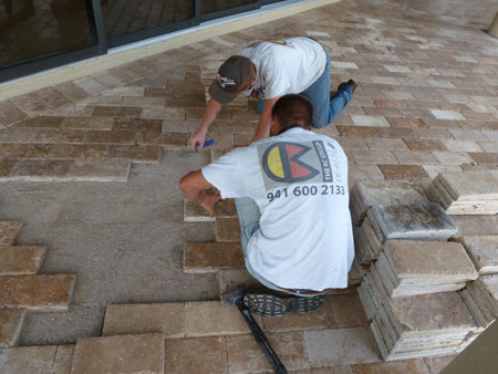 Paver And Travertine Pool Decks Driveways By The Kc